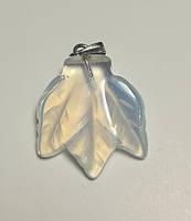 Кулон из Лунного камня Листик, натуральный камень, подвеска (без цепочки)