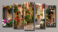 Картина модульная HolstArt Улица в цветах 71*128см 5 модулей арт.HAB-063