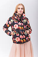Стильная женская болоньевая куртка с цветочным принтом
