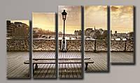 Картина модульная HolstArt Париж с моста 57*100,5см 5 модулей арт.HAB-049