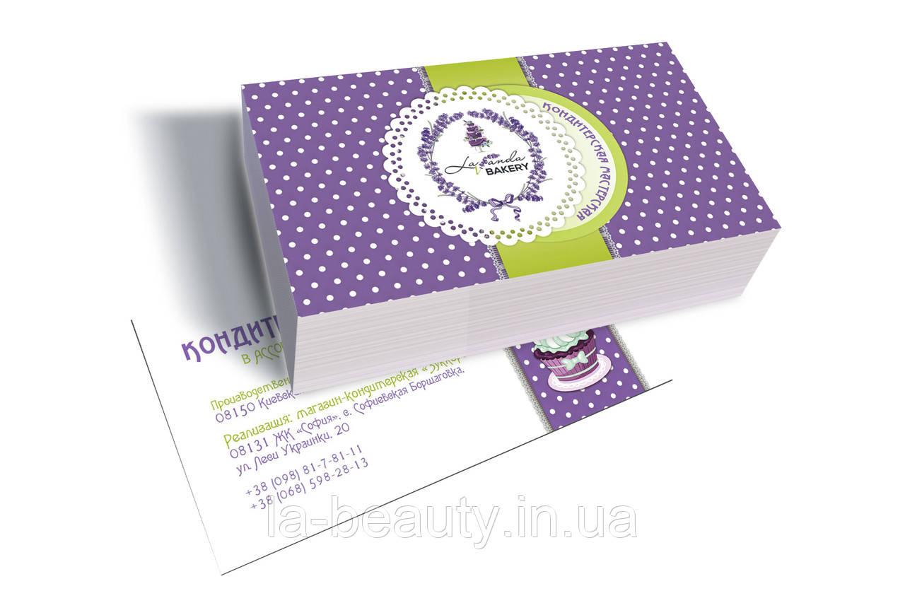Дизайн визиток кафе - кондитерской