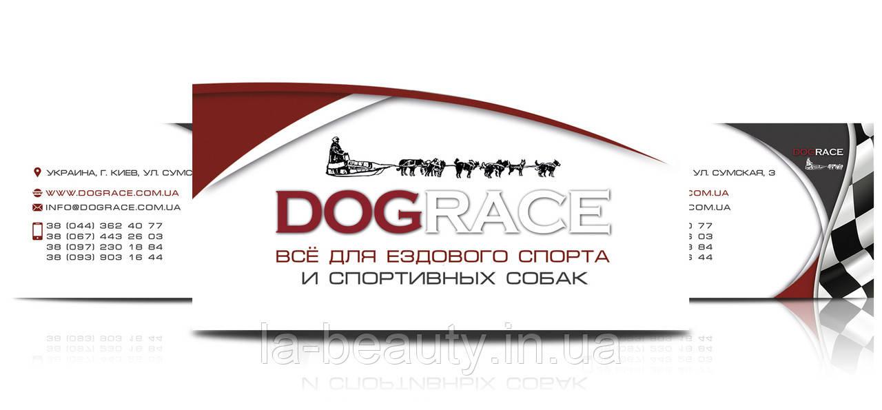 Дизайн визиток магазина зоотоваров (все для ездового спорта и спортивных собак) Dograce