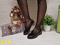 Туфли лоферы на удобном каблуке лаковые