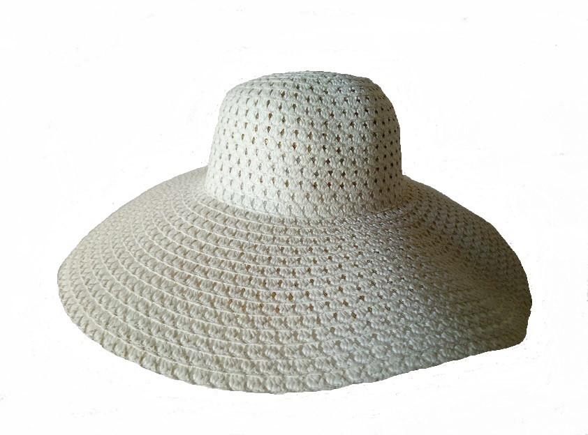 Летняя шляпа c большими полями цвет молочный