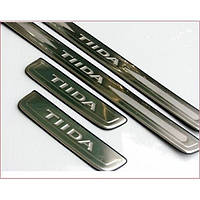 Накладки на пороги из нержавейки Nissan Tiida 4 шт
