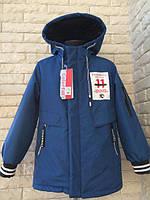 Детская, красивая, демисезонная, модная куртка - парка на мальчика -5,6,7,8,9 лет весенняя  синяя