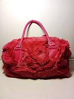 Красная женская меховая сумка