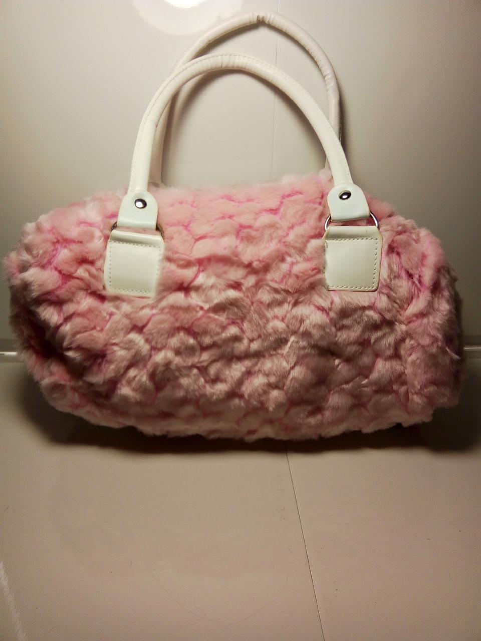 Розовая меховая сумка для женщин