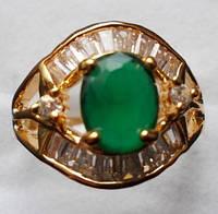 Кольцо натуральный изумруд 10 х 8 мм 18 сапфиров Размер 19 Индия