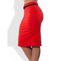 Красная юбка карандаш с поясом в комплекте 1270