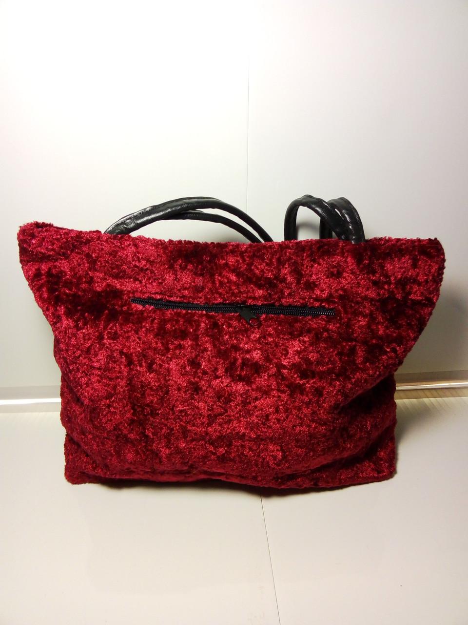 Темно-красная махровая  женская сумка