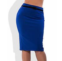 Синяя юбка карандаш с поясом в комплекте 1269
