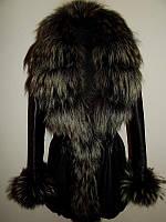 Кожаная куртка дубленка с енотом р.42-44