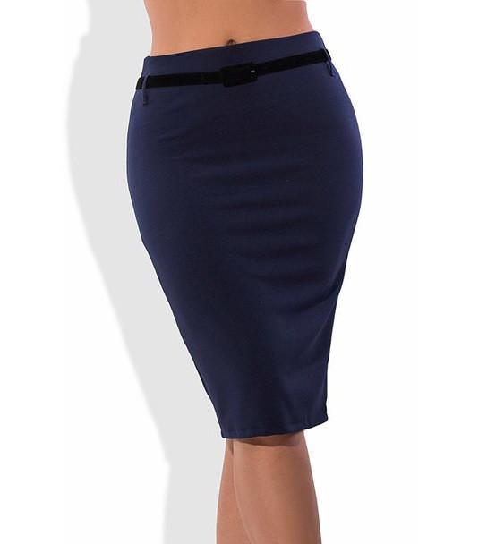 Темно синяя юбка карандаш с поясом 1268