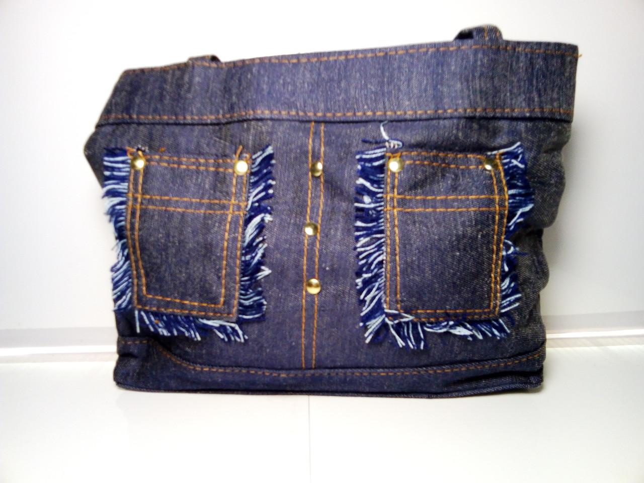 Женская сумка со стильными карманами «Джинс» 26х32 см