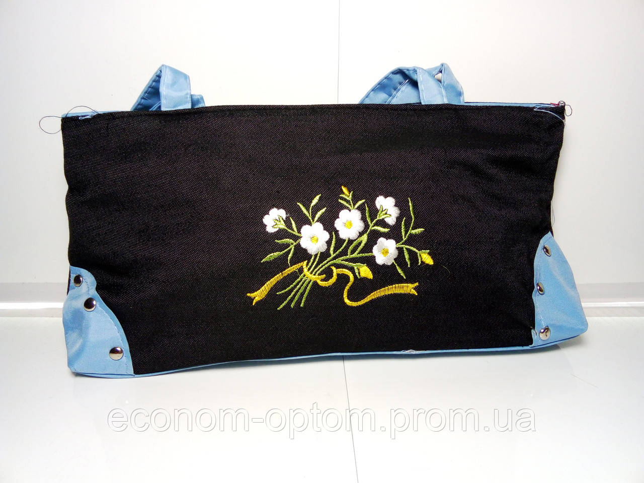 Сумочка женская с голубыми ручками и цветами «Джинс»