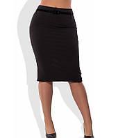 Черная юбка карандаш с поясом в комплекте 1266