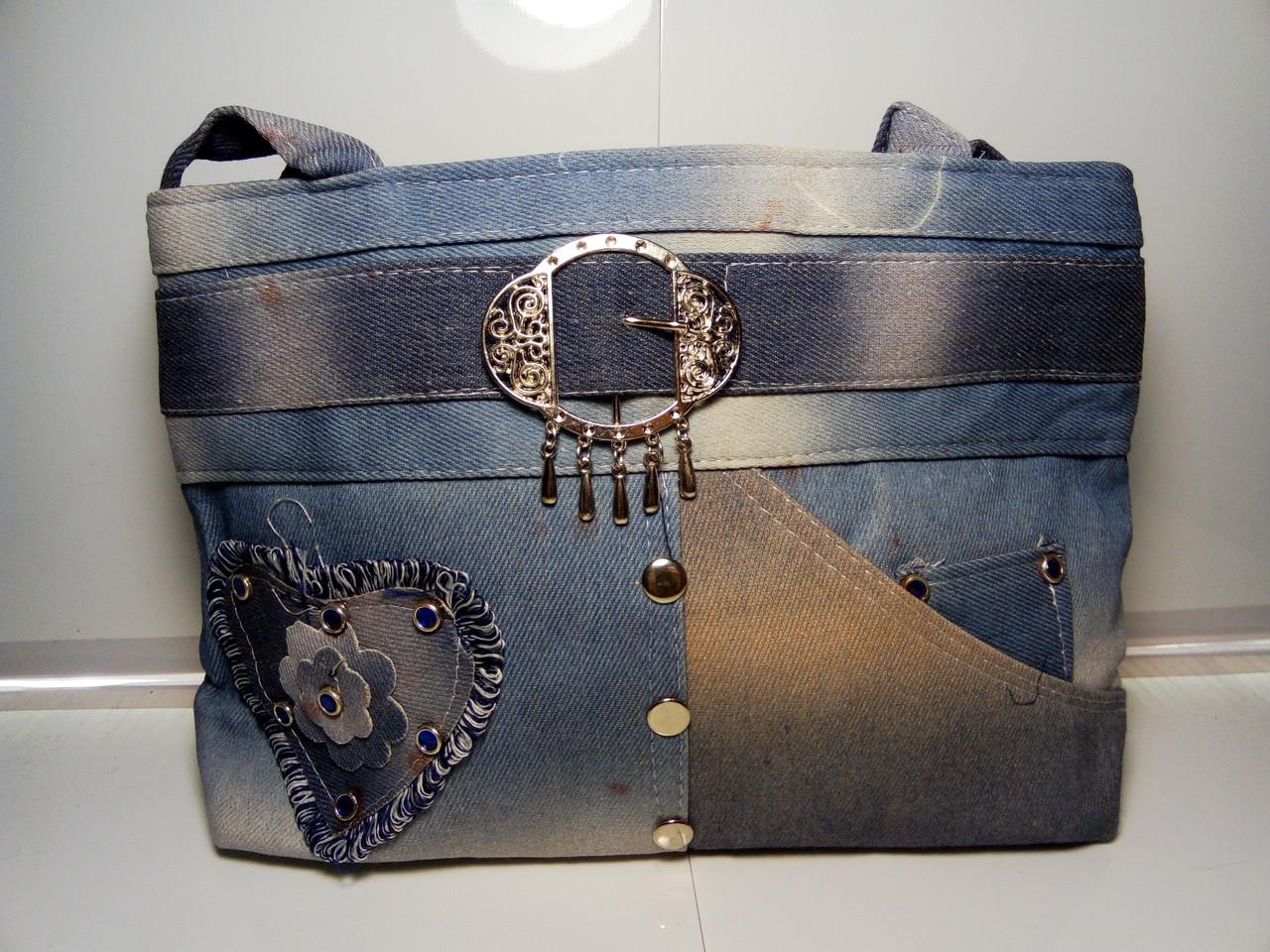 Вместительная женская сумка с пояском «Джинс»