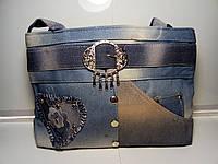 Вместительная женская сумка с пояском «Джинс», фото 1