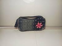 Компактная женская сумочка с розовым цветком «Джинс»