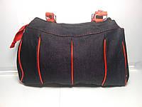 Вместительная женская сумка с красными вставками и ручками «Джинс» 20х28 см, фото 1