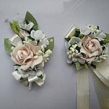 Бутоньерки свадебые цвета пудра