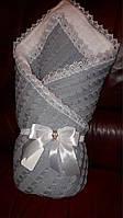 Зимний вязаный плед на выписку для новорожденного, фото 1