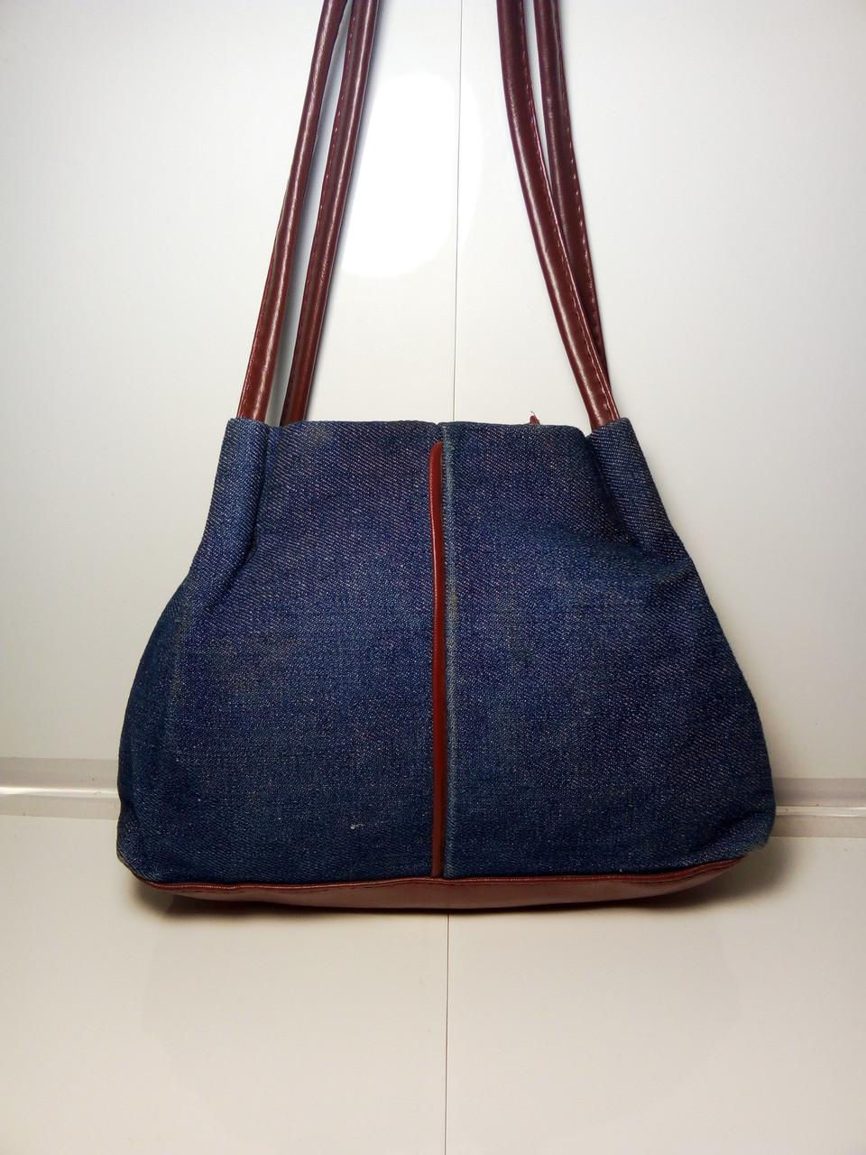 Оригинальная женская сумка с темными ручками «Джинс» 20х26 см