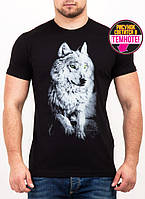 Мужская футболка с светящимся рисунком волка