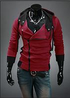 Стильная толстовка , реглан, куртка Ассиметрия M-4XL красная
