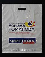 Пакет с вырубной ручкой 400х500,50 мкм печать 1 цвет