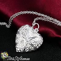 Подвеска кулон медальон сердце LOVE стерлинговое серебро 925 проба цепочка для влюбленных Новинка Шарм