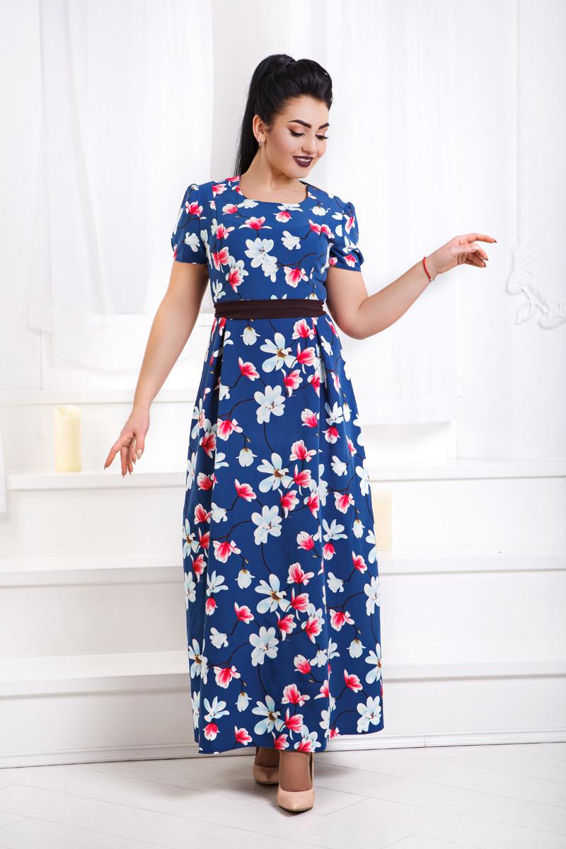 Д1342 Платье длинное с принтом размеры 48-56