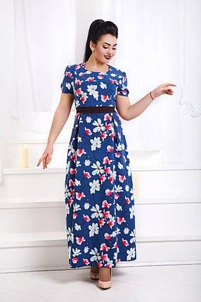 Д1342 Платье длинное с принтом размеры 48-56, фото 2