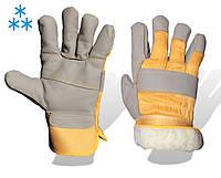 Перчатки утепленные х/б - кожа