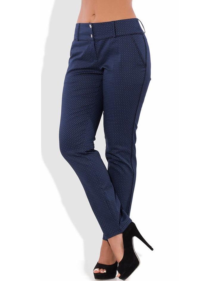 Летние синие брюки из стрейч коттона 1292
