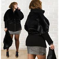 Стильная шуба-куртка батал из качественного искусственного меха норки, р-ры 50-56