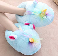 Женские закрытые домашние тапочки игрушки голубые Единороги