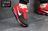 Кроссовки Nike Air Max 2017, черно-красные, материал - текстиль, подошва - гелевая