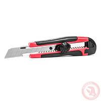 Нож с металлической направляющей под лезвие 18 мм с обрезиненной рукояткой INTERTOOL HT-0503