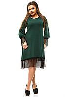 Женское теплое платье из ангоры зеленое