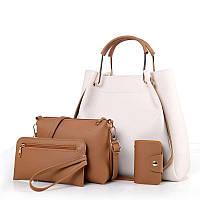 Женская сумка 4в1 набор белый из качественной мягкой экокожи опт, фото 1