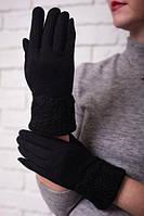 Женские зимние трикотажные перчатки с вязаным отворотом, на искусственном меху