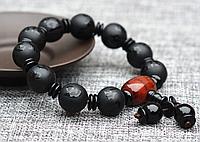 Черный натуральный агатовый браслет унисекс с Мантрами ОРИГИНАЛ Камень 14 мм