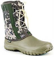 Зимние сапоги ЭВА на шнуровке-верх цифра камуфлированный.