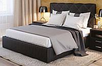 Кровать Плутон 160х200 двуспальная кожаная с мягким изголовьем и подъемным механизмом