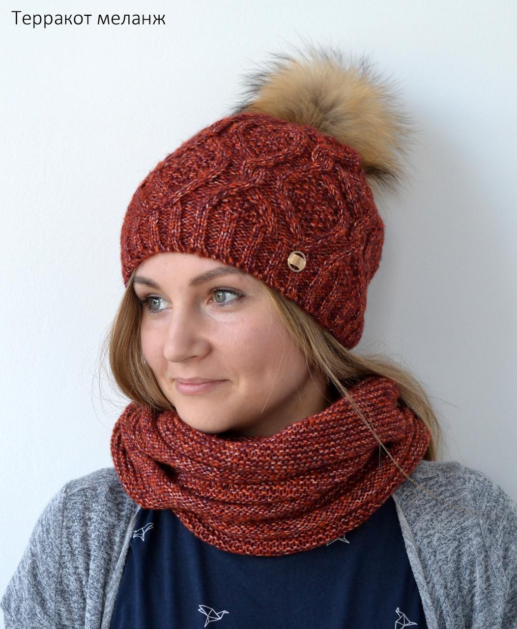 шапка вязаная женская зимняя 2018 в магазине Malishopt арт 639302548