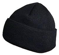 Шапка зимняя чёрная с отворотом.