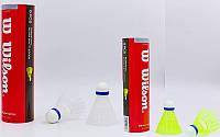Воланы для бадминтона нейлоновые Wilson W882: 6 воланов в комплекте