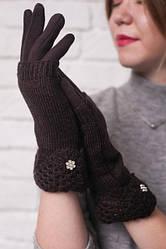 Женские трикотажные перчатки с вязаной митенкой, цвет коричневый.
